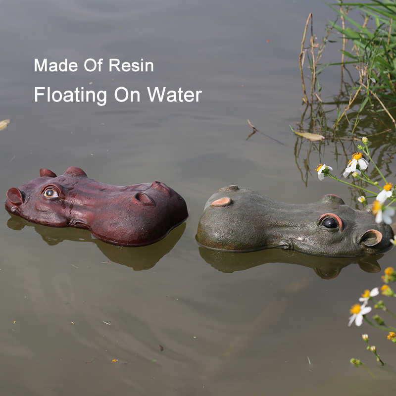 YARNOW Pond Animal Decor Floating Hippo Head Resin Animal Figurine Pond Floating Ornaments Garden Animal Statues Pool Supplies