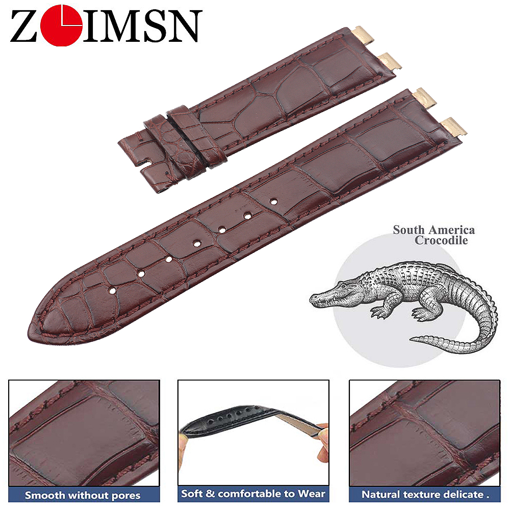 ZLIMSN Genuine Alligator Strap leather Watch Band 21mm For PIAGET Series men's and women's watches Support Custom Size