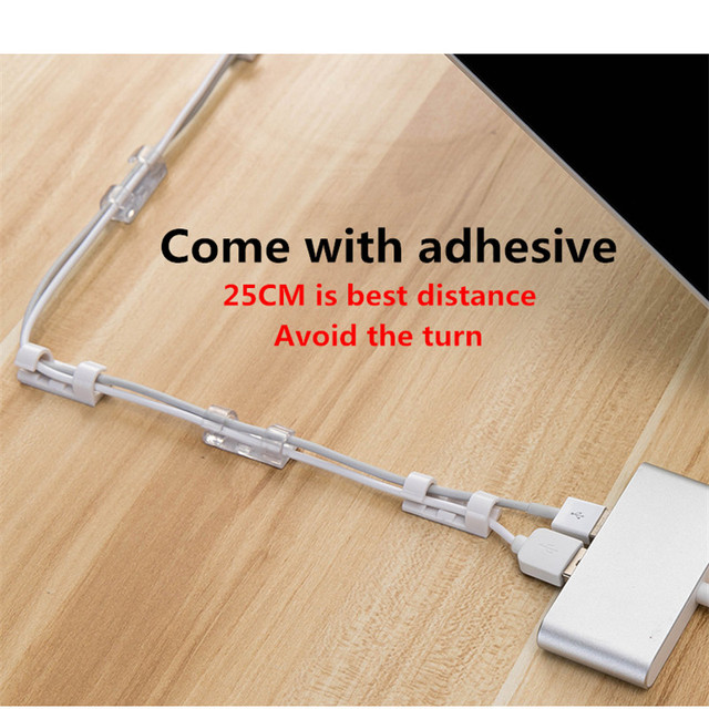 Cable Organizer Clips Cable Management Desktop & Workstation ABS Wire Manager Cord Holder USB Charging Data Line Bobbin Winder 4
