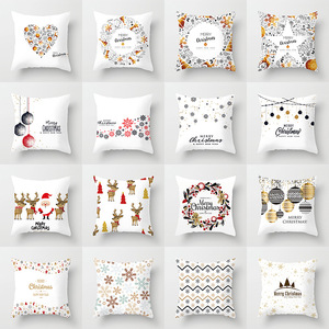 45x45cm Christmas Pattern Cushion Cover Decorative Pillow Covers Sofa Car Throw Pillows Cases Xmas Office Home Decoration Supply