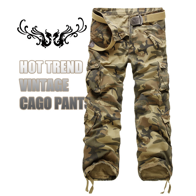 Fabricants vente en plein air camouflage pantalon multi-poches en Europe et aux États-unis. Salopette tout coton, pantalon, larg