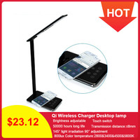 WD102 Qi Wireless Charger Lamp 45 leds Foldable Dimmable for iPhone Fast Charger Desktop Adapter for iPhone X XR for Samsung S8