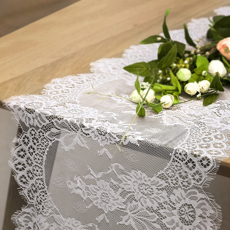 FashionWhite Lace Runners For Table 14x120 Vintage Lace Coffee Table Runner Kitchen Linens For Birthday Wedding Party Bridal Sho
