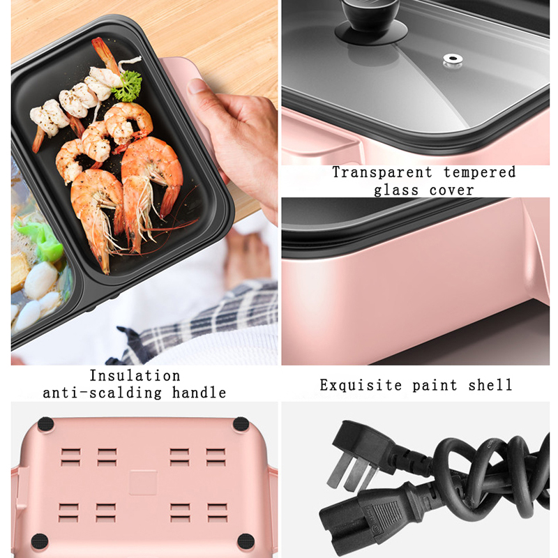 2-in-1 Mini Multi-Function Roasting and Boiling Hot Pot Electric Grill 4