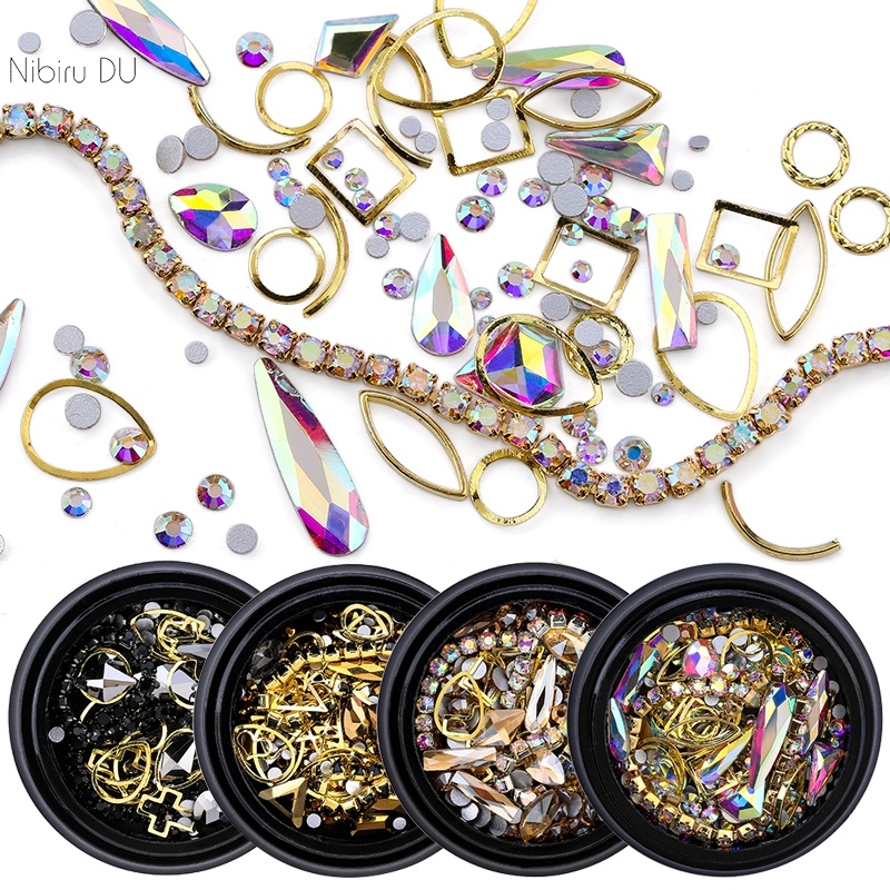 1 Box Of Mixed DIY Crystal Stones And 1 Crystal Chain Nail Design Charm Glass Rhinestone 3D Nail Art Decorations New Accessories