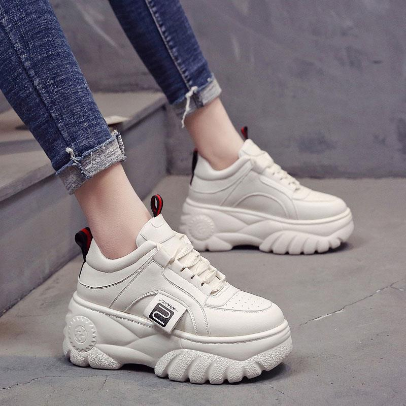 2019 Spring And Autumn Models Women's Shoes Platform Shoes Thick-soled Casual Vulcanized Shoes Increased Sneakers