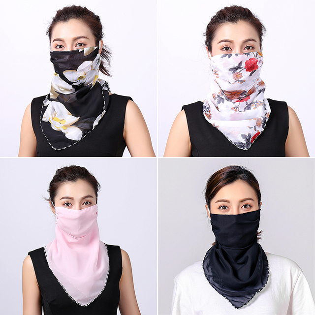 Women Chiffon Mask Scarf Face Mascarillas Wraps Floral Print Lady Silk Neck Scarves Foulard Bandana Reusable Masks Sun Protect 3