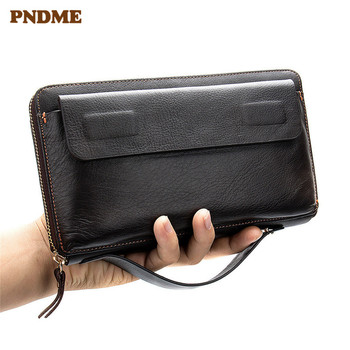 Business vintage genuine leather men RFID clutch bag simple natural first layer cowhide large-capacity card holder phone wallet the first layer of crazy horse leather money man card wallet zipper coin large loading capacity 1007