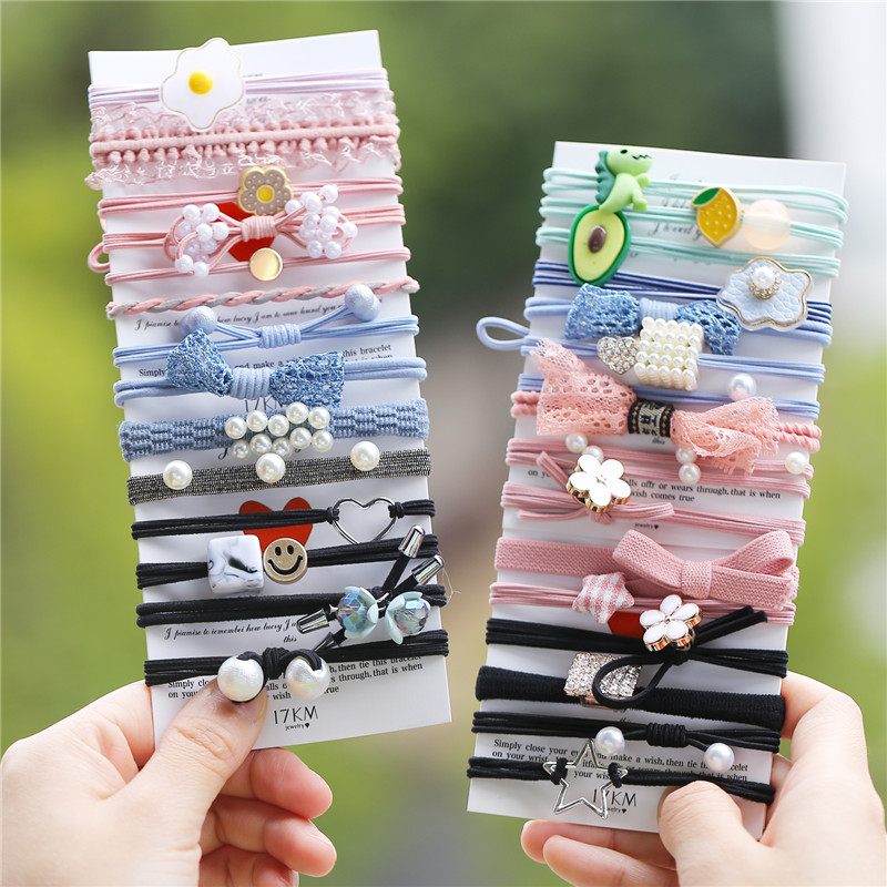 New Women Girls Basic Knot Pearls Elastic Hair Bands Pink Scrunchies Ponytail Holder Headbands Hair Accessories Set Gift