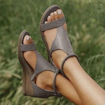 2020 Women Vintage PU Leather Sandals Mid Heels Wedges Shoes Plus Size Gladiator Sandalias Summer Sandalias Mujer
