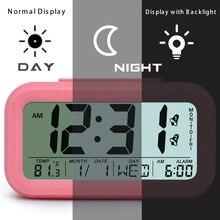TXL LCD Digital Alarm Clock Snooze Electronic Travel Clock Light Sensor Desk Clock TEMP Date Calendar Nightlight Table Clock