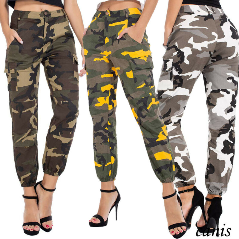 Women's High Waist Camo Cargo Trousers Pants Outdoor Military Army Combat Camouflage Sports Autumn Cool Girl Pants Streetwear