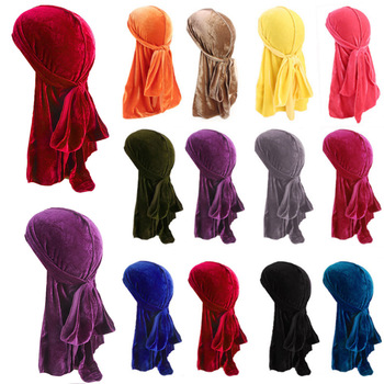 Velvet Durags Bandanna Men Soft Warm Breathable Turban Hat Wigs Doo Durag Solid Biker Headwrap Long Pirate Hat Hair Accessories image