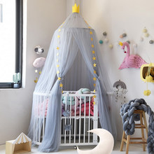Foldable Baby Bed Crib Netting Girls Cribs Kids Bedding Dome Crown Hanging Curtain Canopy Cot Princess Tent Baby Room Decoration(China)