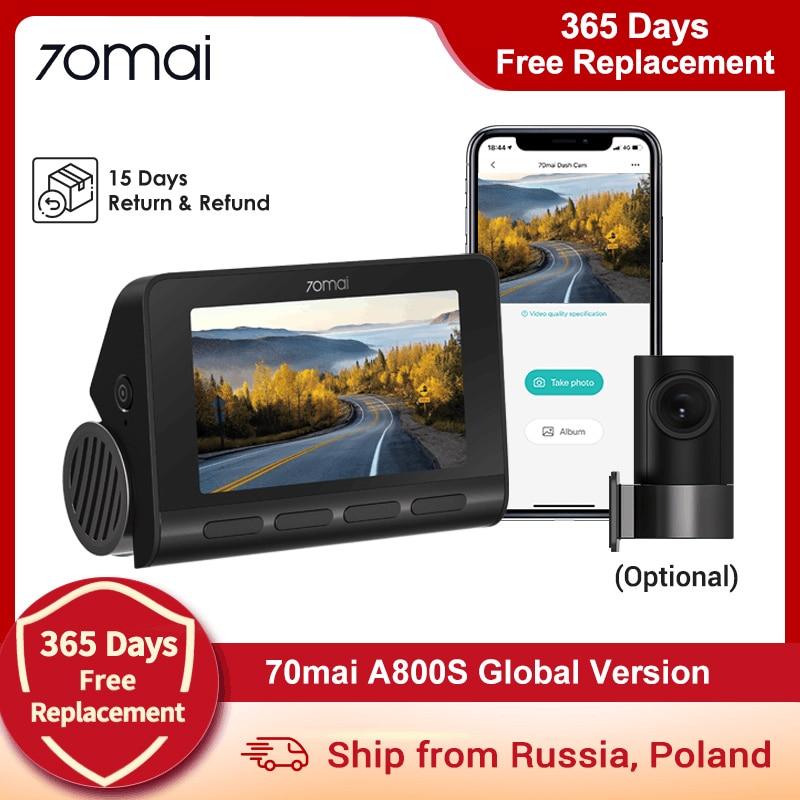 (15 $ код) Видеорегистратор 70mai A800S 4K Ultra HD UHD, камера двойного видения GPS со встроенным разрешением 3840x2160