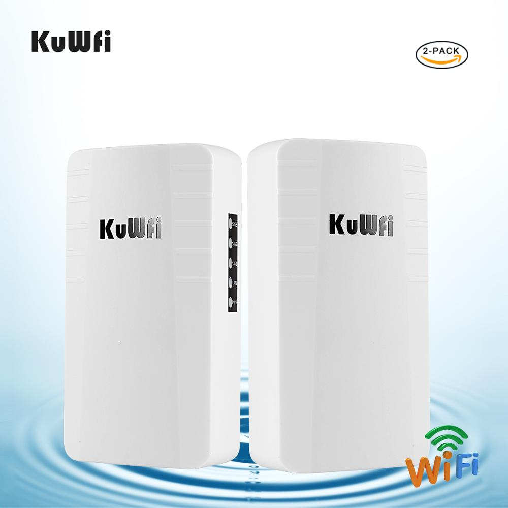 KuWFi  2pcs Outdoor Wireless Bridge Router 300mbps  Wireless Repeater 2.4G AP Router 1KM Long Range Wifi Coverage For IP Camera