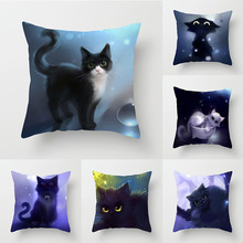 Hot Selling Pillow Case Cat Pattern Car Cushion Couch Pillow Peach Skin Hold Pillow Case conch painting pattern square shape pillow case(without pillow inner)