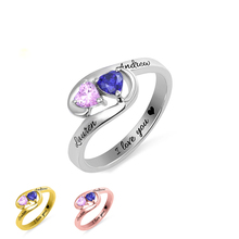 XiaoJing 925 Sterling Silver Custom birthstone engraved Name rings Unique Design finger Ring for Women Personalized Jewelry 2019
