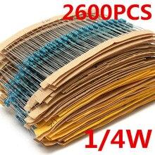 Yüksek kalite toptan fiyat 2600 adet 130 değer 1/4W 0.25W 1% Metal Film dirençler çeşitli paketi kiti Set Lot