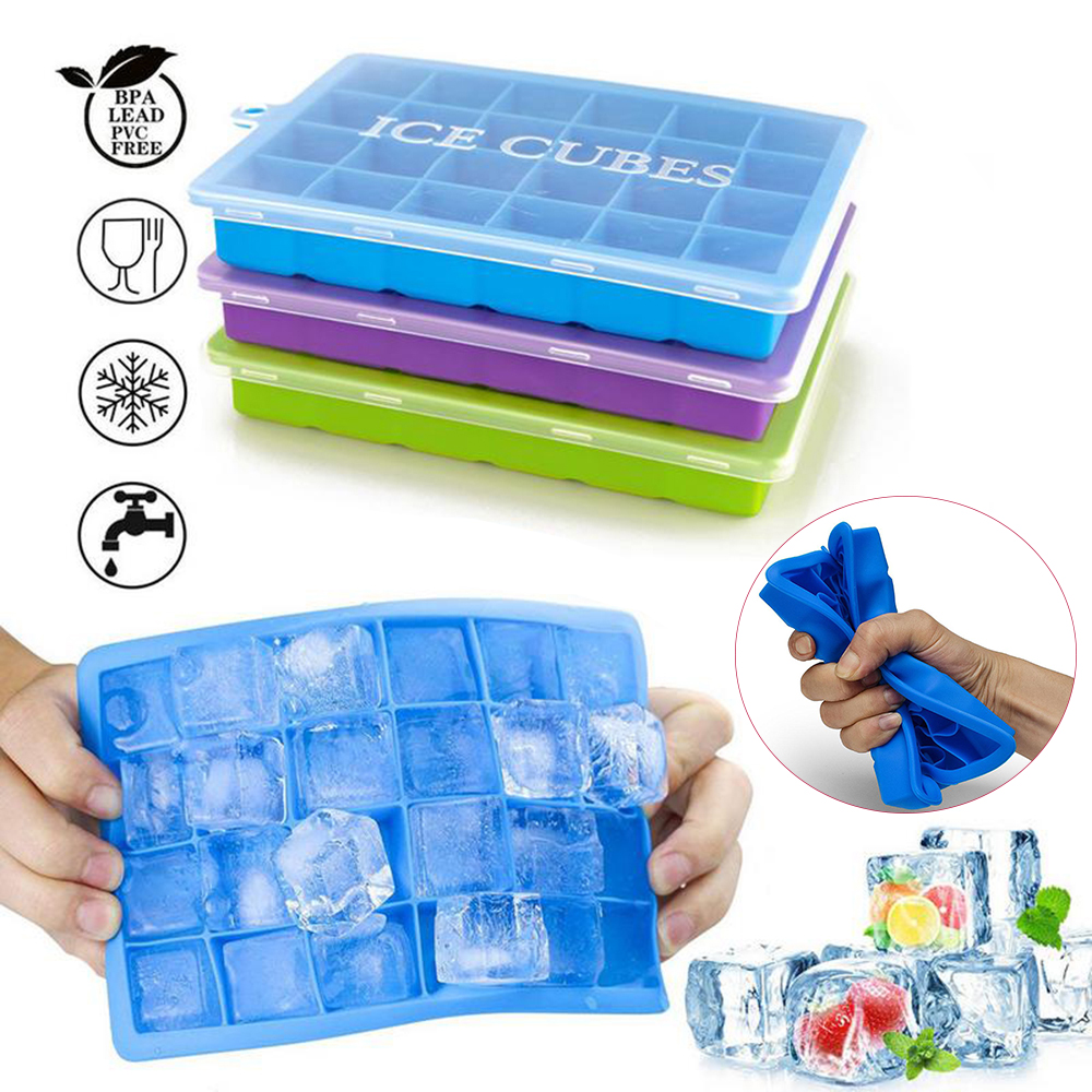 24 Grids Silicone Ice Cube With Lid Eco-Friendly Ice Tray Small Fruits Ice Popsicle Molds Maker Dropshipping Kitchen Accessories