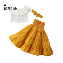 3 шт., детская блузка с открытыми плечами и оборками
