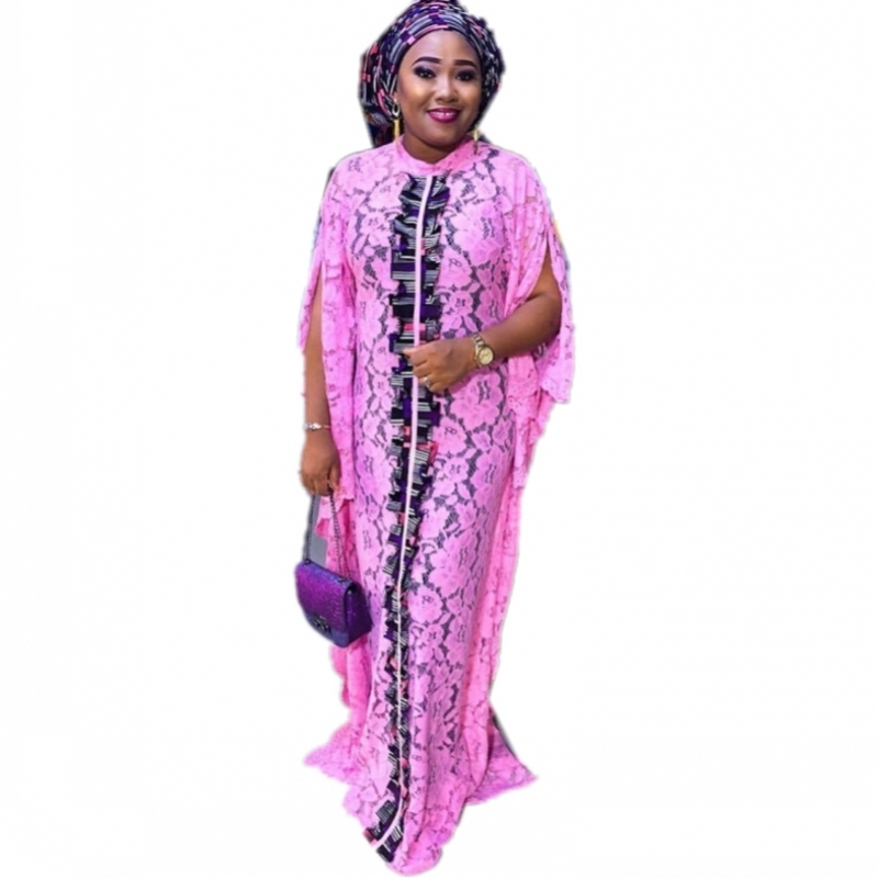 3 Piece Sets Dress Super Size Lace Dresses African Women's Dashiki Fashion Water-soluble Lace Loose Beaded Embroidery Long Dress