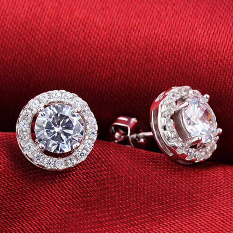 2020 mode luxe 925 en argent Sterling 6mm petit Zircon boucles d'oreilles pour les femmes cadeau de noël coréen bijoux E232