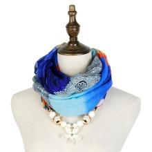 Jzhifiyer scarf lady fashion pendant necklace echarpe jewellery viscose cotton print girls shawl hijab pareo