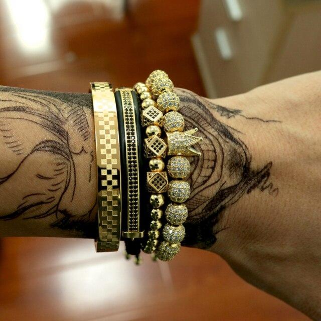 BORASI 4 pièces/ensemble Bracelet en or hommes couronne pavé CZ Zircon perles en acier inoxydable tressé tressage Bracelet bijoux de luxe livraison directe