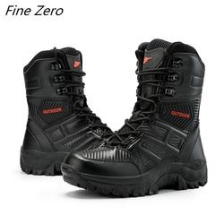 Novos homens botas militares qualidade força especial tático deserto combate tornozelo barcos à prova dwaterproof água sapatos de trabalho do exército botas de neve couro