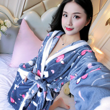Cartoon Lovely 2019 Thicken Nightgowns Winter Bathrobe Women Pajamas Bath Robe Flannel Warm Robe Sleepwear Coral Velvet Robes