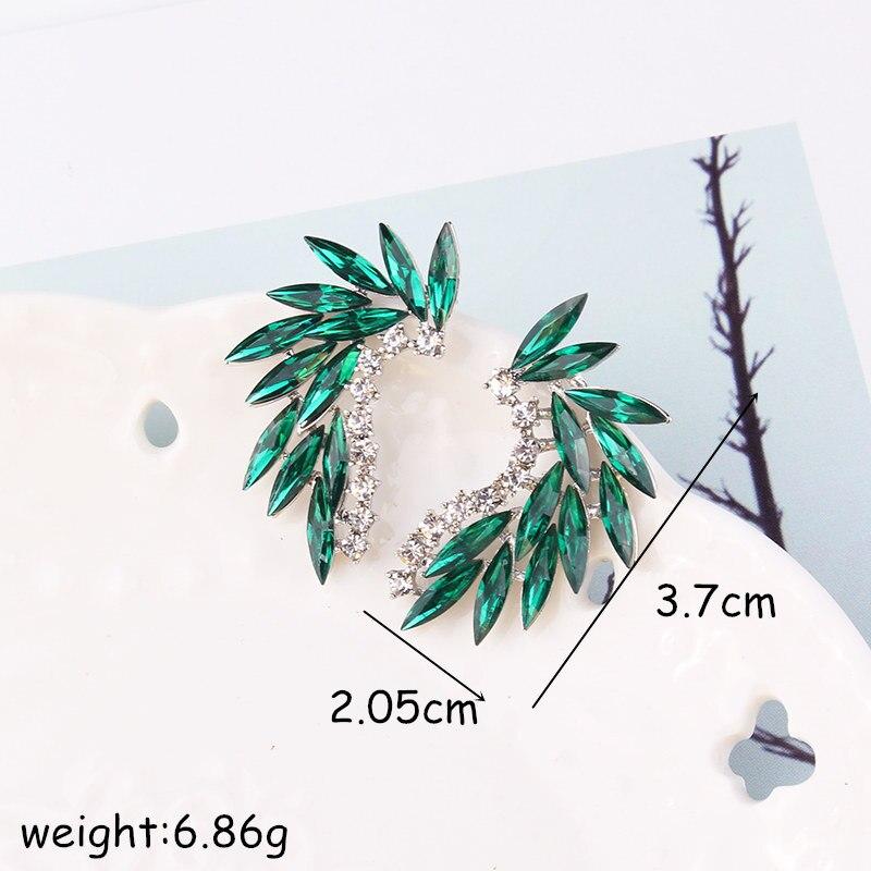 LUBOV brillant strass ailes boucles d'oreilles acrylique cristal pierre femmes Piercing boucles d'oreilles bijoux de mariage à la mode cadeau de noël 4