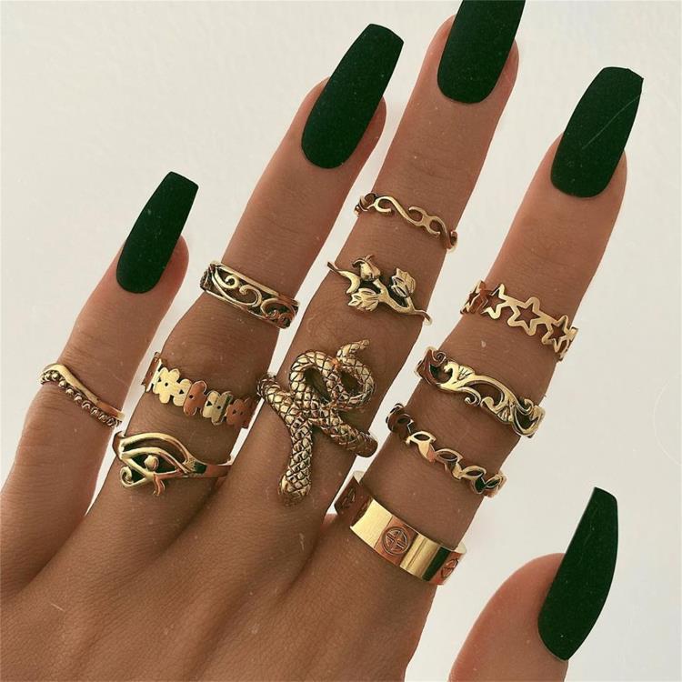 Женские винтажные кольца KSRA Boho с золотыми звездами и кристаллами, геометрические женские кольца на палец, ювелирные изделия 2020 3