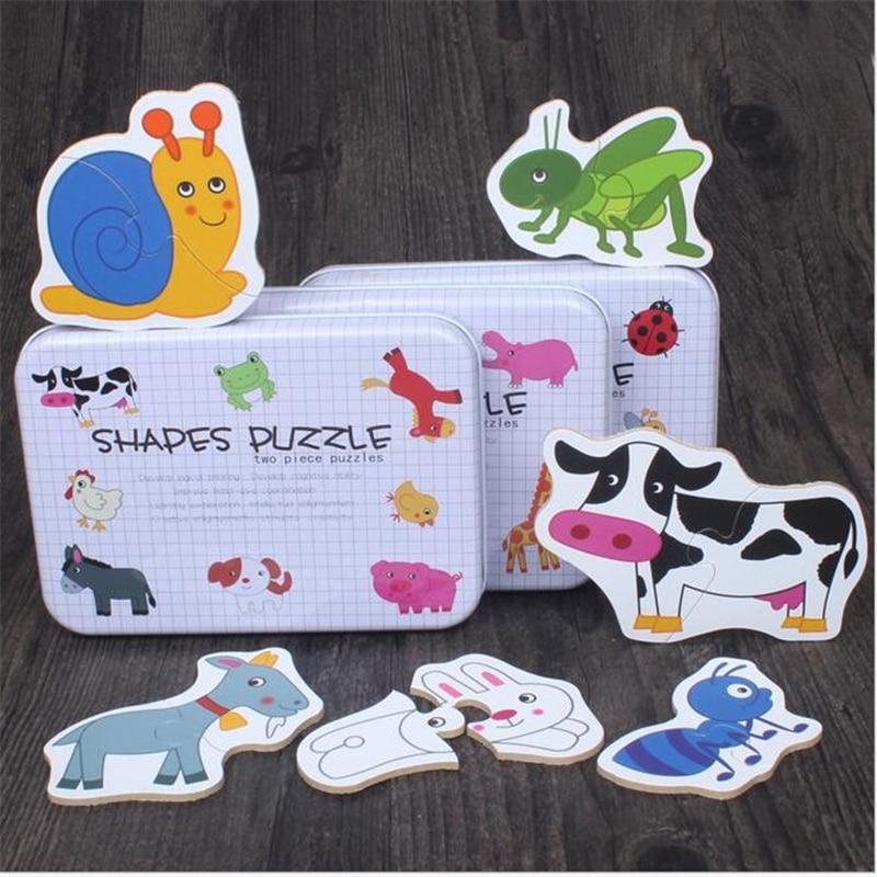 Автомобиль/фрукты/животное набор пара головоломка развивающий подарок детские игрушки железная коробка Младенческая ранняя голова начать...