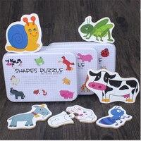 車両/フルーツ/動物セットペアパズル教育ギフト赤ちゃんのおもちゃ鉄ボックスの乳児の早期ヘッドトレーニングを開始パズル認知カード