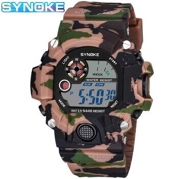 SYNOKE relojes digitales deportivos para hombres camuflaje militar resistente al agua reloj de parada a prueba de golpes para hombre reloj electrónico Masculino reloj