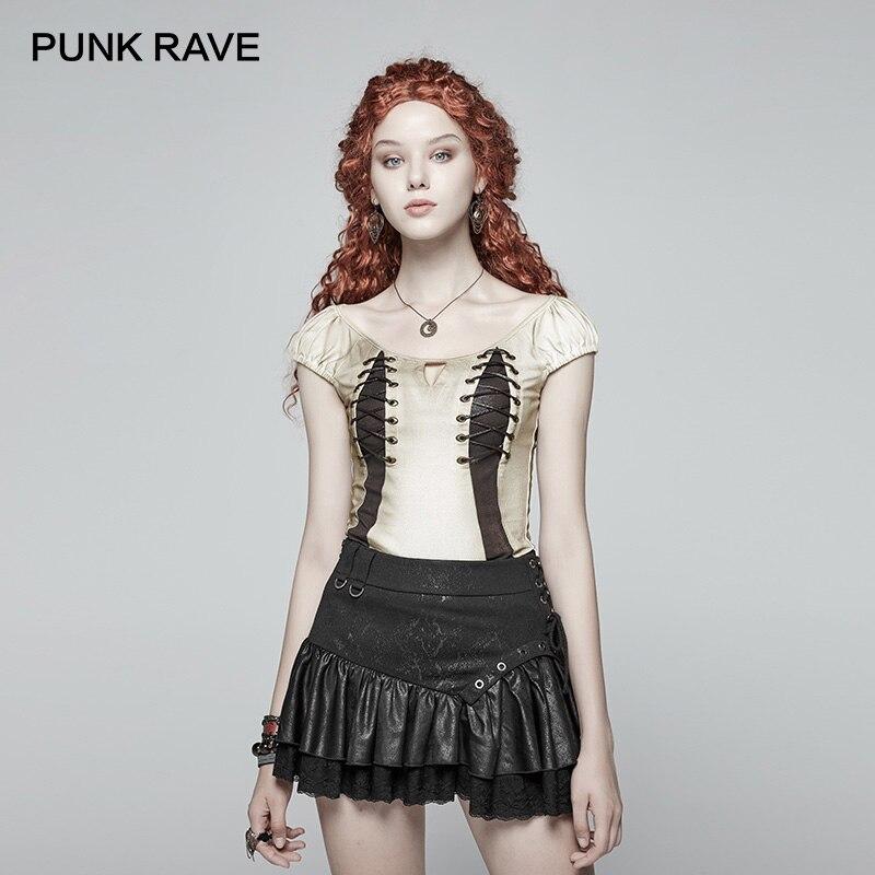 PUNK RAVE nouveau Steampunk Sexy T-shirt blanc gothique coton laçage à manches courtes poitrine métal oeillet PU cordon-porter des femmes t-shirts
