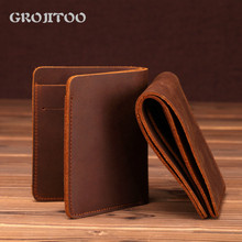 GROJITOO 2020 Hot Sale Genuine Leather Handmade Wallet Men's First Layer Cowhide Business Dollar small Wallet Card Purse