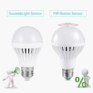 Image 2 - サウンドpirモーションセンサー電球110v 220vスマートナイトライトE27赤外線センサーled常夜灯電球ホーム階段廊下