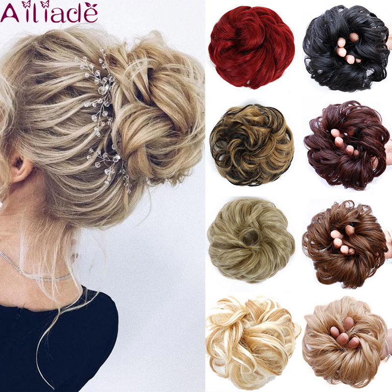 AILIADA Scrunchy Hair Bun Messy Curly Chignon Women Chignon Synthetic Hair Extensions Updo Donut Hairpieces Wrap Ponytail Hair