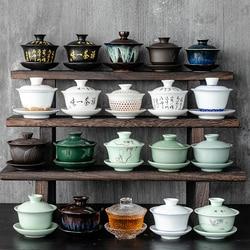Chinese Traditions Gai Wan Tea Set Bone Kung Fu TeaSet Gaiwan Tea cup Porcelain bowl For Travel Beautiful And Easy Kettle