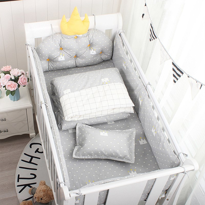 Bed-Bedding-Kit Bumpers Cushion Side-Protector-Set Crown Baby Crib Nordic Cotton 5pcs