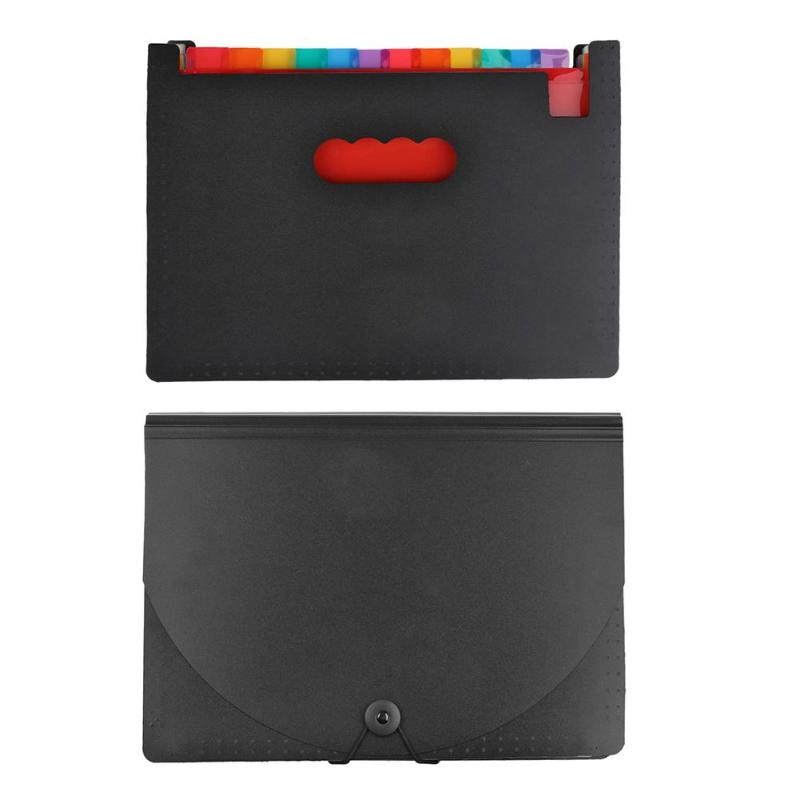 12 Pockets Files Folder PP Rainbow Organ Package 12 Layers Expanding Accordion A4 Paper Size File Organizer For Office Students