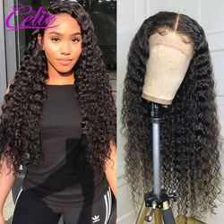 Celie Deep Wave Wig 360 Lace Frontal Wig Pre Plucked With Baby Hair 180 250 Density Brazilian Curly Lace Front Human Hair Wigs
