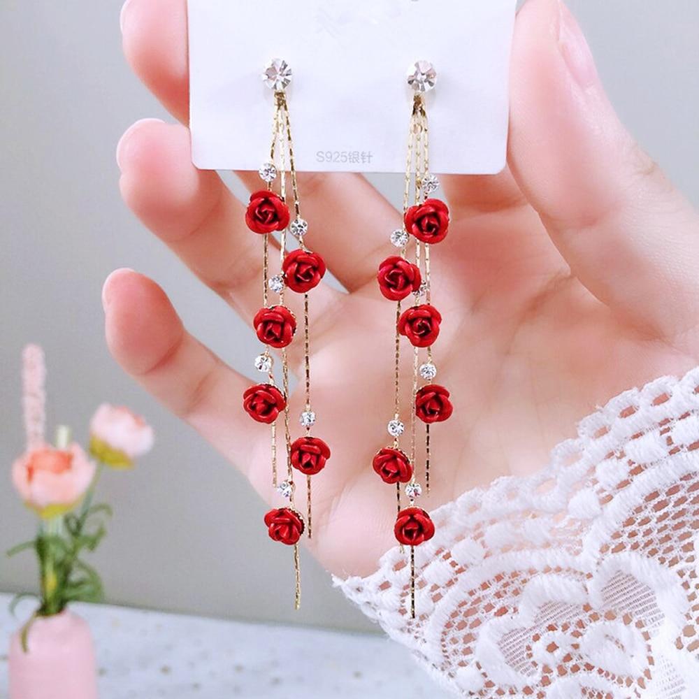 Fashion Rose Petal Drop Earrings for Women Bijoux Blue White long tassel Dangle Earrings Weddings Party Jewelry Accessories Gift 1