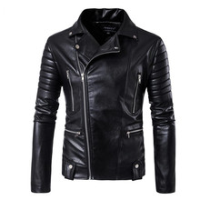 2019 High-end brand men zipper leather jacket Wolverine casual PU leather locomo