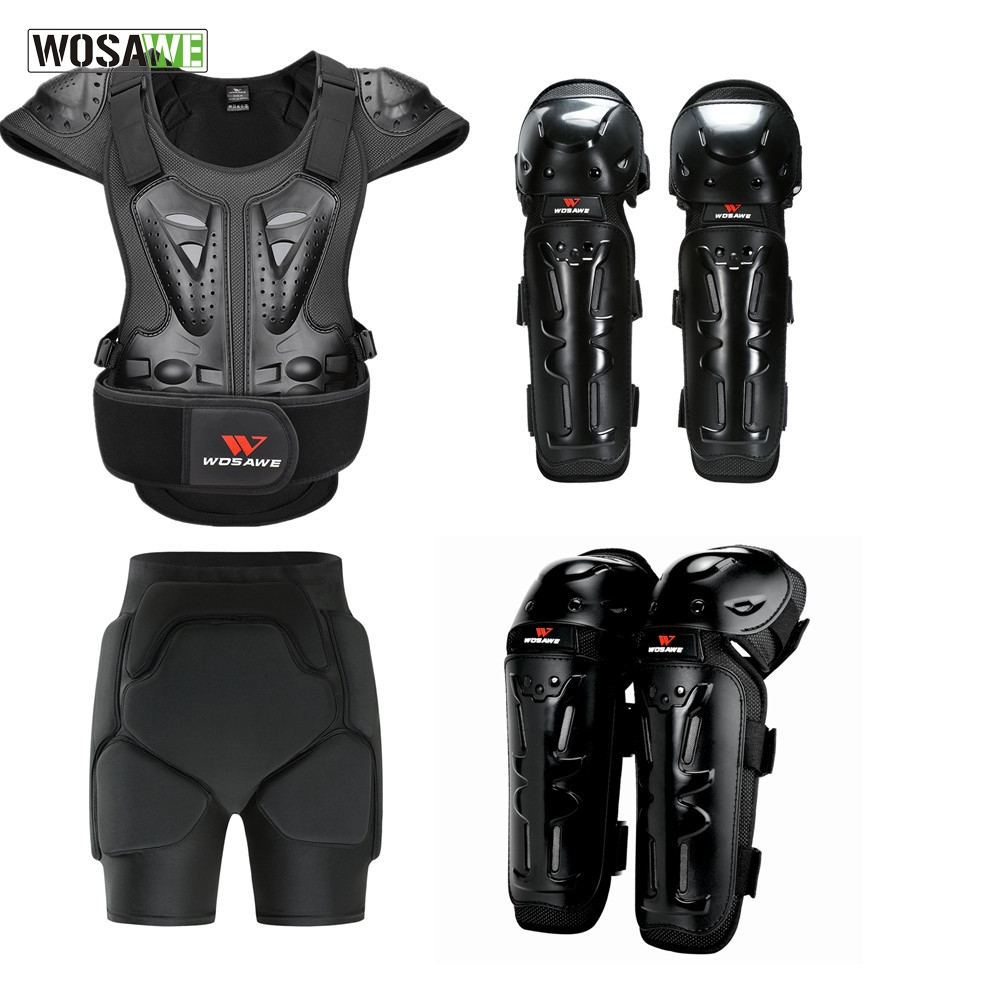 WOSAWE 6PCS מלא גוף מגן שריון סנובורד החלקה מעיל + מכנסיים קצרים מרפק הברך מגן מוטוקרוס מעיל אופנוע סט