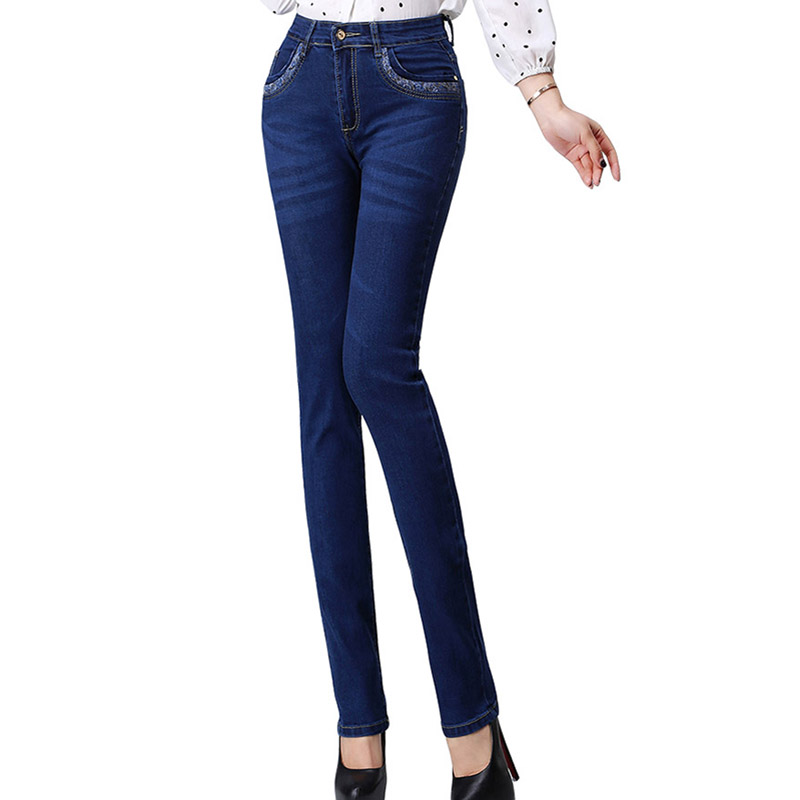 Jeans Elastic Slim Fit Plus Size Jeans for Women High Waist Jeans For Straight Women Autumn Winter Push up Women's Trousers Q167