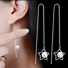 New Fashion Five-pointed Star Simple Popular Silver Stars Artificial Pearl Earrings Jewelry Wholesale Accessories