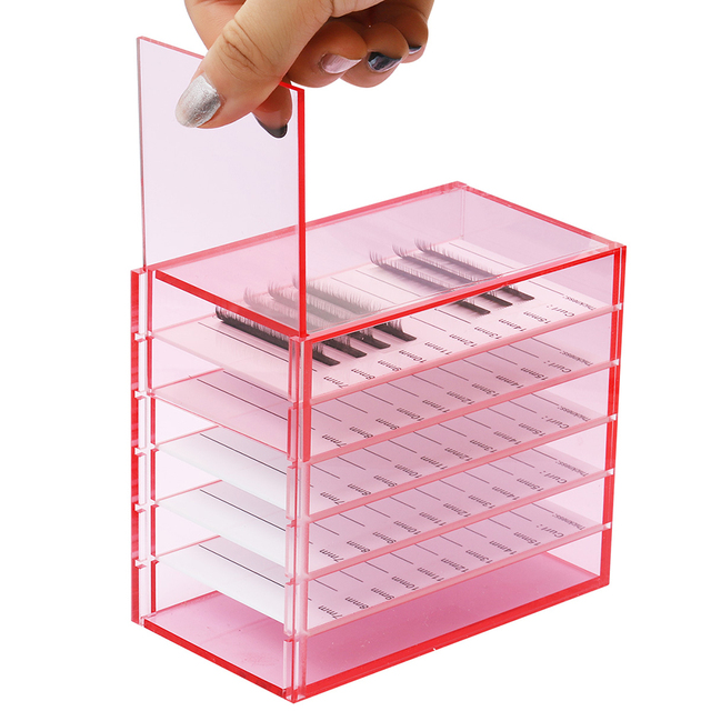 5 Layers Lash Boxes Transparent Eyelash Extension Storage Box Organizer Acrylic Lash Pallet Holder Case Grafting Eyelash Display 5